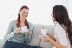 Женские друзья наслаждаясь болтовней над кофе дома Стоковая Фотография