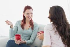 Женские друзья наслаждаясь болтовней над кофе дома Стоковое фото RF