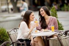 Женские друзья сидя снаружи в кафе и имеют потеху Стоковая Фотография RF
