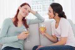 Женские друзья с бокалами беседуя на софе дома Стоковое Изображение