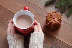 Женские руки в белом свитере держат красную кружку какао на деревянном столе Стоковые Фото