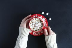 Женские руки в белом шерстяном свитере держа красную кружку с какао и зефирами Стоковое Изображение RF
