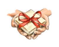 Женские руки держа малый подарок обернутый с красной лентой бесплатная иллюстрация