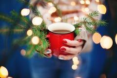Женские руки держа чашку имеющееся Новый Год архива eps рождества карточки Стоковые Изображения