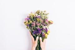 Женские руки держа букет пестротканых wildflowers Стоковые Фото