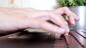 Женские руки женщины перечисляя toucpad и печатая на клавиатуре ноутбука, отсутствие женщины стороны сидя работать не по найму та видеоматериал