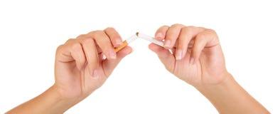 Женские руки ломая конец-вверх сигареты изолированный на белой предпосылке Стоковая Фотография RF