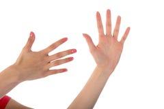 Женские руки показывая 10 перстов изолированных на белизне Стоковое Изображение RF