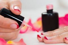 Женские руки прикладывая лак для ногтей Стоковая Фотография RF