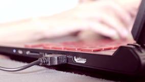 Женские руки текста бизнес-леди печатая на клавиатуре конца ноутбука вверх, она работающ и пишущ комментарии столба внутри видеоматериал