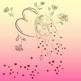 Женские сердца и цветки Стоковая Фотография RF
