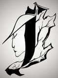 Женские сторона и лист дуба Стоковое Изображение RF