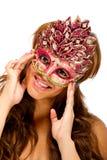 женские счастливые детеныши masqurade маски довольно Стоковое фото RF