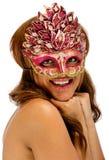 женские счастливые детеныши masqurade маски довольно Стоковая Фотография RF