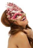 женские счастливые детеныши masqurade маски довольно Стоковые Фотографии RF