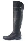 Женские черные кожаные ботинки с низкими пятками Стоковые Изображения RF