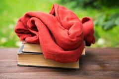 Женские шарф и книги на таблице Стоковое фото RF