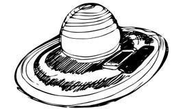 Женские шляпа пляжа и smartphonesh 2 Стоковое Изображение