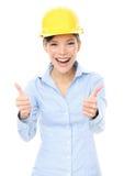 Женский архитектор показывать большие пальцы руки вверх Стоковые Фото