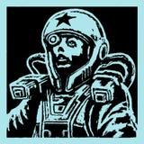 Женский астронавт стороны в шлеме также вектор иллюстрации притяжки corel Стоковые Фото