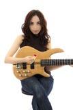 Женский бас-гитарист стоковые фото