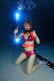 Женский водолаз скуба Стоковое Фото