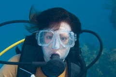 Женский водолаз скуба Стоковая Фотография RF
