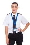 Женский второй пилот авиакомпании Стоковые Фото