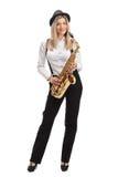 Женский джазовый музыкант с саксофоном Стоковое Изображение