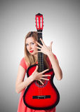 Женский игрок гитары Стоковые Фотографии RF