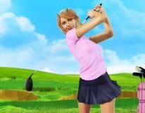 Женский игрок гольфа teeing  Стоковые Фото