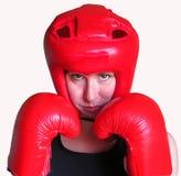 Женский изолированный боксер. Стоковые Фото