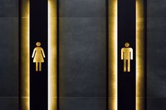 Женский и мужской знак уборной Место знаков уборной публично Важные знаки и концепция символов Простой знак WC стоковая фотография