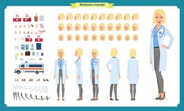 Женский комплект творения характера доктора Фронт, сторона, задний взгляд одушевил характер Творение характера доктора установлен иллюстрация штока