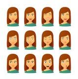 Женский комплект выражения воплощения иллюстрация штока