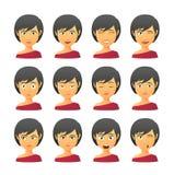 Женский комплект выражения воплощения иллюстрация вектора