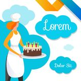 Женский кондитер с десертом в руках bakersfield бесплатная иллюстрация