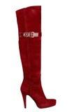 Женский красный ботинок с высокой пяткой Стоковые Фото