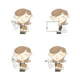 Женский клерк с различными представлениями иллюстрация штока