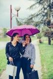 Женский лучший друг 2 идя в парк с зонтиком и указывая прочь в улицу стоковые фото