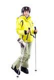 Женский лыжник Стоковые Изображения