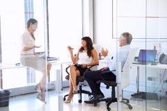 Женский менеджер говоря к коллегам в современном офисе Стоковая Фотография