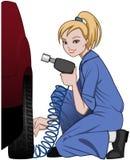 Женский механик автомобиля в голубых coveralls исправляя колесо автомобиля иллюстрация вектора