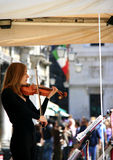 женский музыкант выполняя venice Италии Стоковое Фото