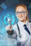 Женский доктор с комплектом абстрактных элементов Стоковое Изображение