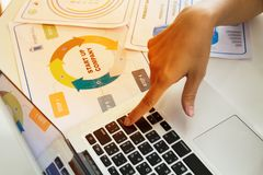 Женский палец помещенный дальше входит кнопку клавиатуры Стоковая Фотография