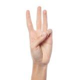 Женский показ 3 руки стоковое изображение rf