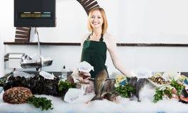 Женский продавец в магазине рыб Стоковые Изображения