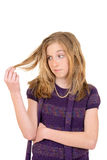 Женский ребенок осаженный с волосами стоковое изображение rf