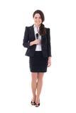 Женский репортер при микрофон изолированный на белизне Стоковые Изображения RF